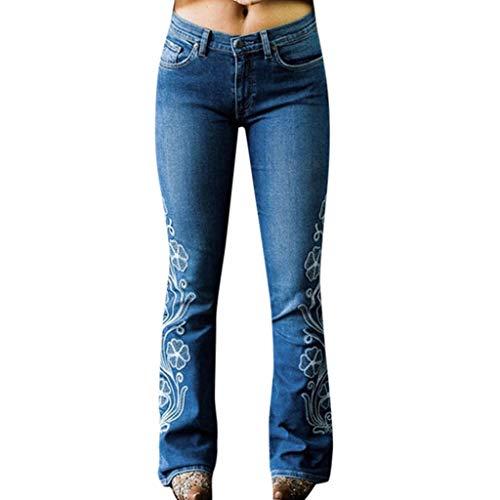 RISTHY Mujer Pantalones Acampanados Bordados Casual Vaqueros Retro Ocios Cintura Alta Jeans de Mujer Ancho Pierna Elástica Slim Fit Holgados Bota Boot-Cut