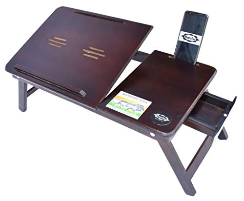 POPULAR Multipurpose Wooden Laptop Table/Study Table – Adjustable & Foldable Design – with Mobile & Tablet Dock – with Natural Wood Mobile Stand Free (Antique Walnut)