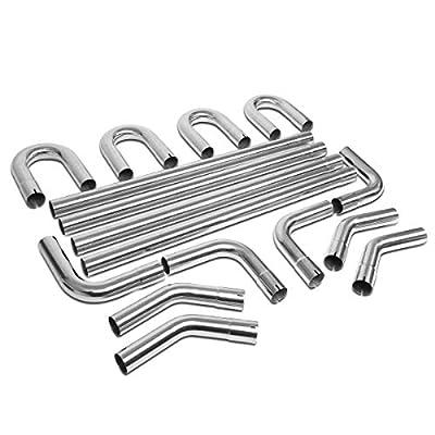 DNA MOTORING Metallic ZTL-25SS 16Pcs 2.5 Inches DIY Custom Exhaust Pipe Kit Straight & Bend
