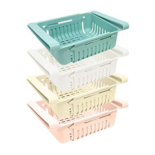 Satz mit 4 Kühlschrank Schubladen als Kühlschrank Organizer | Kunststoff Kühlschrank Aufbewahrungsbox | Ausziehbare Fridge Organizer (blau, weiß, rosa, beige)