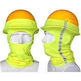 Taurlity 2 Pieces Hard Hat Sun Shade Neck Sun Lengthen Shade Protection with Safety High Visibility Reflective Stripe Hat Neck Shade for Full Standard Brim Safety Helmets