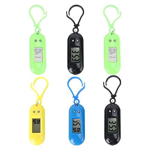 Kisangel 6 Piezas Llavero Reloj de Bolsillo Llavero Prismático Digital Relojes Electrónicos Mochila Reloj de Bolsillo Pequeño Llavero para Niños Estudiante Deporte Aire Libre