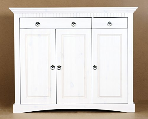 Clever 3 trg Commode en pin laqué blanc armoire, buffet