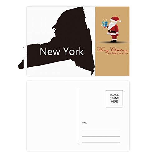 New York USA kaart Silhouette Kerstman ansichtkaart Set Thanks Card Mailing 20 stks