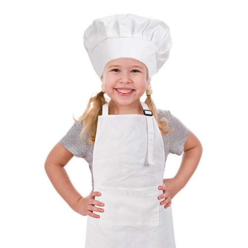 CRJHNS Kids Apron and Chef Hat Set, Adjustable Cotton Child Apron with Large Pocket White Boys Girls Bib Apron for Cooking Painting Baking (Small, White)