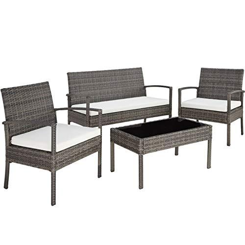 Am Group Home Set Mobili Giardino 4 posti con tavolino, poltroncine, divanetto in polyrattan Esterno Giardino, Salottino da Giardino - Sirio (Tortora)