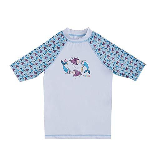 Slipstop Camicia da Bagno a Maniche Corte UV per Bambini - Fattore di Protezione 50+ Rash Guard ad Asciugatura Rapida, per Ragazze, Blu Chiaro con Sirene, Taglia 116-122