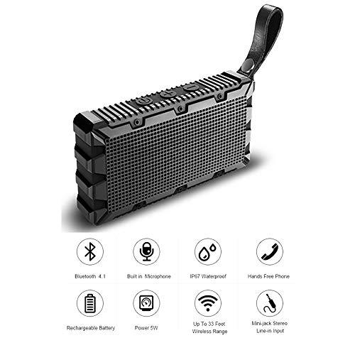 QLPP Altavoz inalámbrico Bluetooth con Built-in-Mic IP67 clasificado Totalmente Sumergible Choque, Agua, Polvo y a Prueba de arañazos 5W de Potencia con 6 Horas de Tiempo de Juego