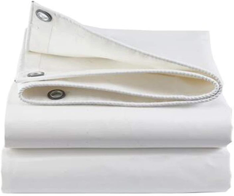ZX タープ 防雨布 ターポリン 耐火性難燃性クロス 厚くする ナイフスクレイピング オックスフォード布 日焼け止め 耐摩耗性 テント アウトドア (Color : 白い, Size : 6x8m)