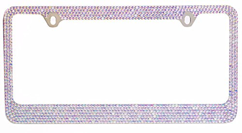 BLVD-LPF OBEY YOUR LUXURY Popular Bling 7 Row AB Aurora Borealis Color Crystal Metal Chrome License Plate Frame with Crystal Screw Caps - 1 Frame