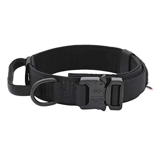 Collar táctico para perro Tuberk, mango de control de entrenamiento militar, ajustable, área de velcro, collar para perro Naylon