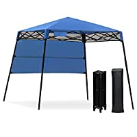 GYMAX 1.8x1.8m Slant Leg Canopy, Waterproof Fire Resistant Pop Up Folding Gazebo Tent with Backpack, Sun Protection Beach Shelter for Hiking, Camping, Party and Barbeque