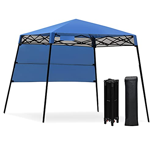 GYMAX 1.8x1.8m Slant Leg Canopy, Waterproof Fire Resistant Pop Up Folding Gazebo Tent with Backpack, Sun Protection Beach Shelter for Hiking, Camping, Party and Barbeque (Blue)