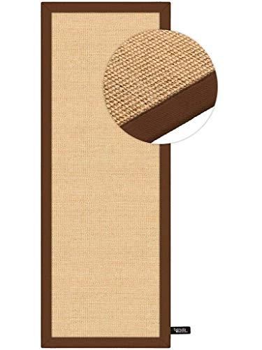 benuta Sisal - Tappeto con Bordo in Fibra Naturale, per corridoio e Soggiorno, Marrone, 68x240 cm