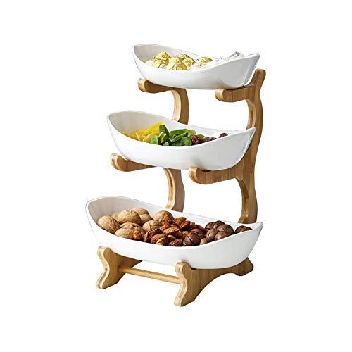 Dakeam Obsttablett Früchtekorb Früchtekorb,3-stöckiges ovales Schüssel-Set mit natürlichem Bambusgestell, Keramik Obst Etagere Obstschalen für Kuchen Obst Dessert Snacks Sushi Weiß
