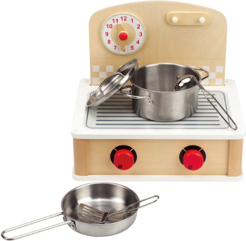 Image of the Hape Tabletop Cook and Grill Kid's Wooden Kitchen Play Set with Accessories
