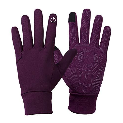 Gants d'extérieur élastique écran tactile gants chauds hommes et femmes Sports équitation anti-dérapant gants antigel coupe-vent,Purple