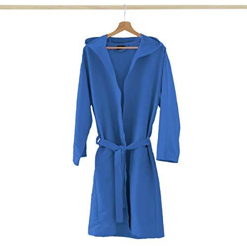 Accappatoio Adulto Microfibra con Cappuccio + Borsa Uomo Donna, Colori Vari V851 L Azzurro