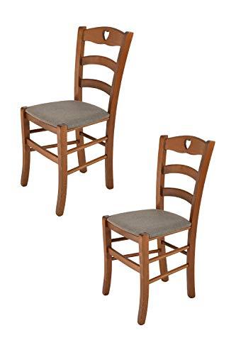 Tommychairs - Set 2 sedie modello Cuore per cucina bar e sala da pranzo, robusta struttura in Legno di faggio color noce chiaro e seduta rivestita in tessuto colore capriolo