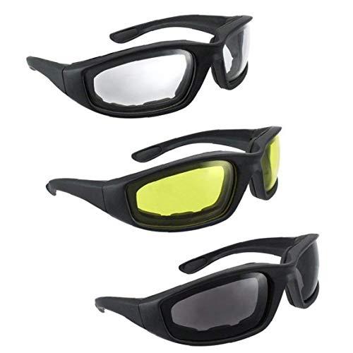 YZLSM 3 Pc-Motorrad-Brille Mann Goggles Gepolsterte Schaum Mit Anti-Fog-uv-Schutz-objektiv Winddichtes Papierbrille Staubdichtes Sonnenbrillen Herren Brillen Für REIT