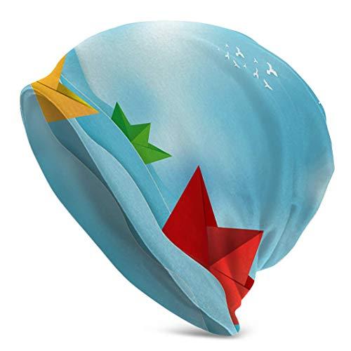 Voxpkrs Origami Boot Segeln im Ozean Papier Kunst Winter Mütze Hut Baseball Cap für Männer