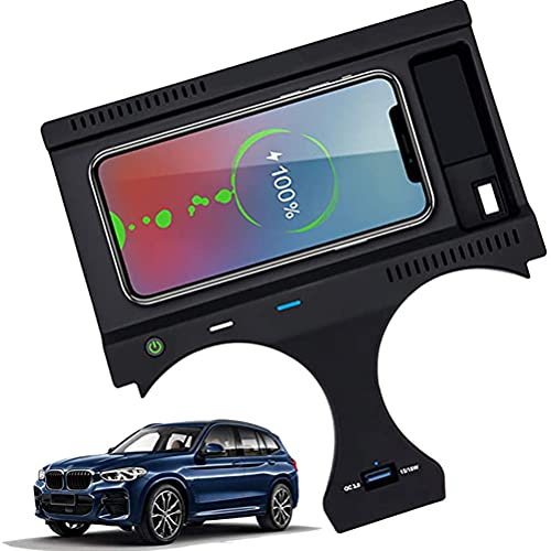 Cargador InaláMbrico para AutomóVil para Bmw X3 2018 2019 2020 2021 Bmw X4 2019 2020 2021 Panel de Consola Central, Cargador de TeléFono de Carga RáPida Qc3.0 de 10 W Con Puerto Usb de 18 W