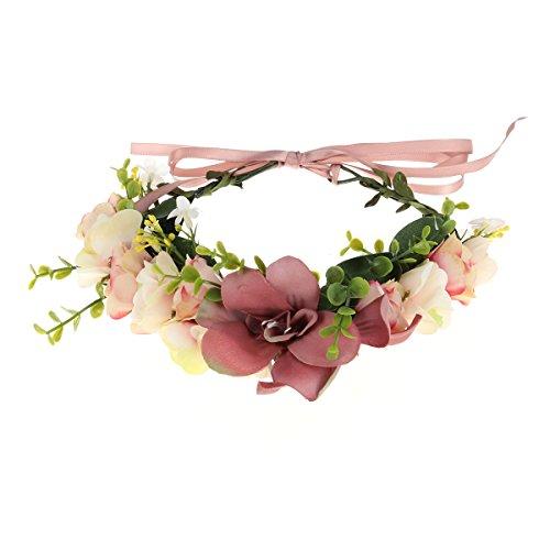 NUOLUX Blumen Kranz Stirnband Krone Blumengirlande Boho für Festival Hochzeit (dunkelrosa)