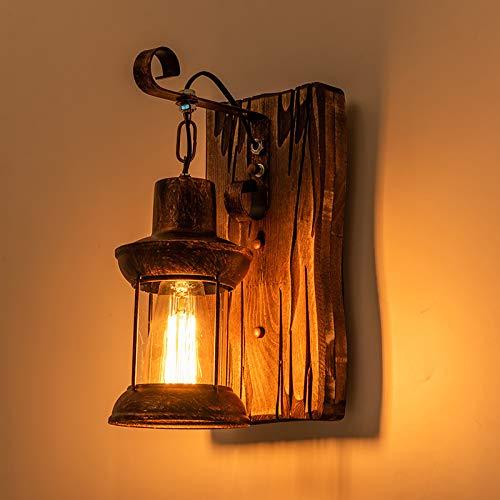 Retro Wandlampe Holz Kreative Wandleuchten Hölzerne Kunst Laterne Bekleidungsgeschäft Restaurant Kaffee Bar Holz Retro Lichter E27 Glas Wand Lampe Schlafzimmer Gänge Vintage Lampen Nachttischlampe