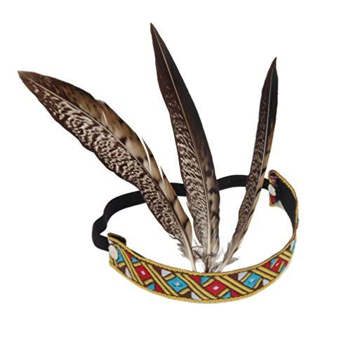 PRETYZOOM Feder Stirnband Kinder Indianer Hippie Haarband Vintage Karneval Kopfbedeckung Festival Party Haarschmuck Maskerade Cosplay Kostüm Zubehör