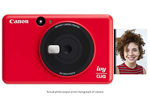 "Canon IVY CLIQ Instant Camera Printer, Mini Photo Printer with 2""X3"" Sticky-Back Photo Paper(10 Sheets), Lady Bug Red"