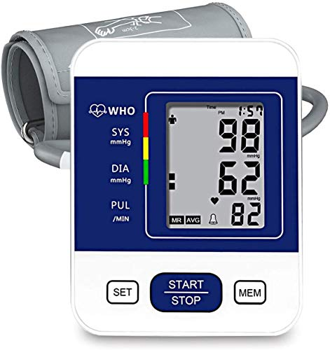 Blood Pressure Monitor, CAZON Upper Arm Blood Pressure Monitor Cuff Digital Hypertension Detector Automatic Heart Rate Pulse Monitor with Large Screen Display Home Use Care Device