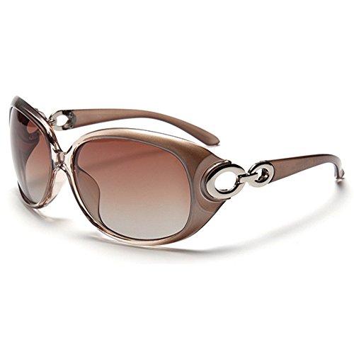 BLDEN Sonnenbrille polarisiert für Frauen, Anti-Reflexion 100% UV Augenschutz Stilvolle Ovale Brille Großen Rahmen,Braun Gl3116-champagne