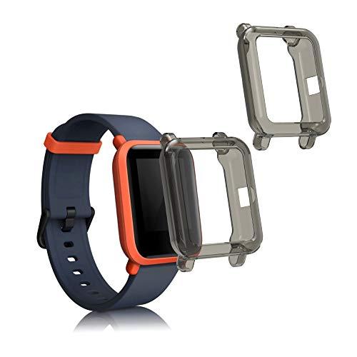kwmobile 2X Carcasa Compatible con Huami Amazfit Bip S/Bip S Lite - Funda para Fitness Tracker en Negro/Transparente
