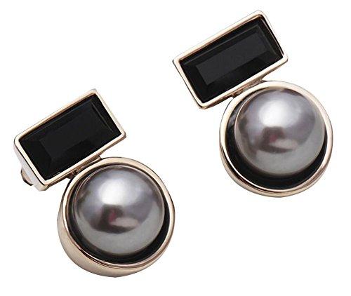 Black Temptation Boucles d'oreilles de Femmes et de Filles de Mode ornées avec la Perle de Shell