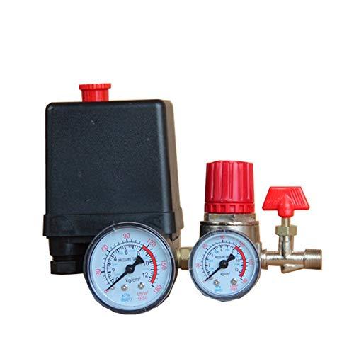 lxxiulirzeu Control de Interruptor de presión de compresor de Aire pequeño de 125 PSI 15A 240V / CA regulador de Aire Ajustable de Aire compresor de válvula de Cuatro Agujeros (Color : Black)