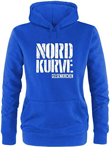EZYshirt® Nordkurve auf Schalke Damen Hoodie | Damen Kapuzenpullover | Damen Pullover