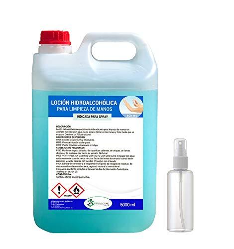 Ecosoluciones Químicas ECO- 901 | 5 litros | Loción Hidroalcohólica para manos | 70% alcohol garantizado | Somos fabricantes, Calidad asegurada | INCLUYE PULVERIZADOR