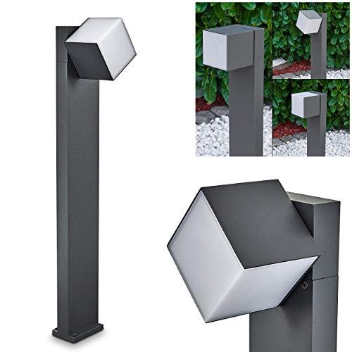 Borne de jardin LED Swanek en aluminium moulé anthracite, potelet moderne avec un luminaire carré rotatif à 350°, idéal le long d'un chemin IP 54, 12 Watt, 600 Lumen, 3000 Kelvin (blanc chaud)
