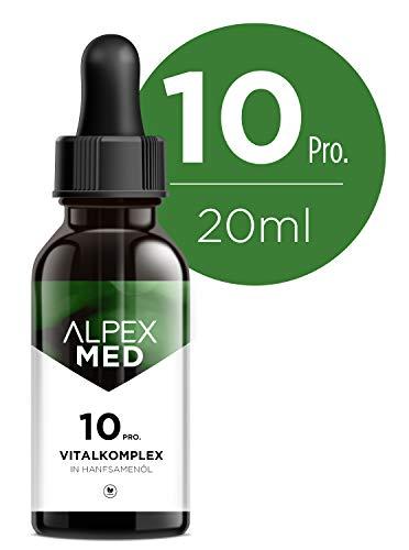 ALPEX-MED 10 Proz. 20ml Pure Vitalkomplex 2000mg – 20 ml Vitaltropfen mit Hanfsamenöl, Natur-Öl mit natürlichen Zutaten, reich an Fettsäuren, Vitaminen und Mineralien, 100{3a71ca806c3db32210cc09a7719fbde6aaebb40673d6dfd7f9a58367d6e2ce47} vegan & frei von Zusätzen