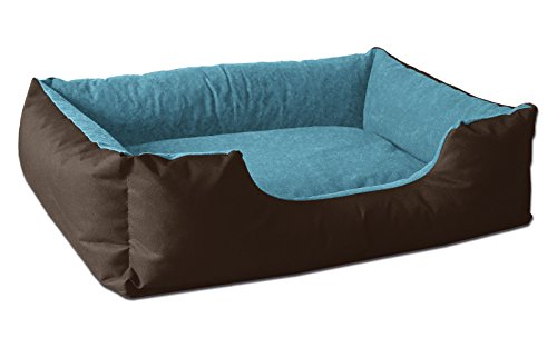 BedDog® lit pour Chien LUPI, Brun/Bleu, S env. 55x40 cm,Panier Corbeille, Coussin de Chien