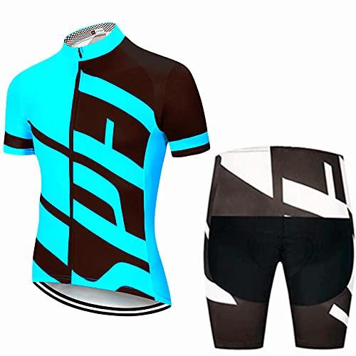 HXTSWGS Conjunto de Maillot de Ciclismo para Hombre, Manga Corta, Cremallera Completa, Conjunto de Ropa de Bicicleta húmeda, Camiseta con Pechera con Pantalones Cortos Acolchados en 3D-A03_L