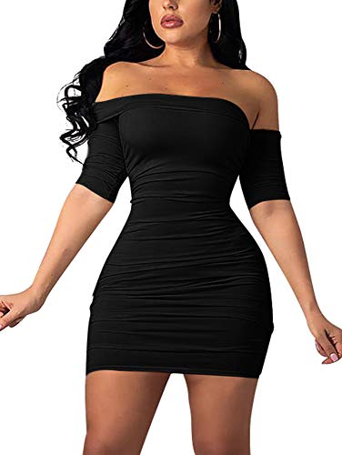 GOBLES Women's Summer Short Sleeve Sexy Bodycon Ruched Mini Party Dress Black