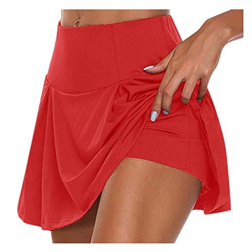 YEBIRAL Damen Sportskort Fitness Tennis Golf Sport Hosen Rock Elastische Laufshorts 2 in1 Sport Leggings mit Rock Kurz Skort Active Athletic Hosenrock Laufenrock