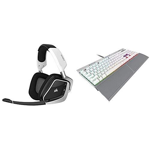 Corsair Gaming Void RGB Elite Wireless Premium Gaming Headset, White & K70 RGB MK.2 SE Mechanical RAPIDFIRE Gaming Keyboard - USB Passthrough & Media Controls