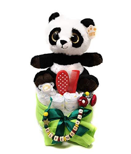 Elfenstall Windeltorte/Pamperstorte mit Schnullerkette/Schnuller und vielen Extras als tolles Geschenk zur Geburt oder Taufe auf Wunsch mit Namen des Babys