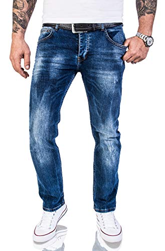 Rock Creek Herren Jeans Hose Regular Slim Stretch Jeans Herrenjeans Herrenhose Denim Stonewashed Basic Stretchhose Raw RC-2110A Dunkelblau W42 L32