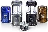 VP TEK Collapsible LED Lantern with Ultra Bright 300 Lumens COB Technology (4 Pack) (Black, Metallic Copper, Cobalt Blue & Metallic Silver)