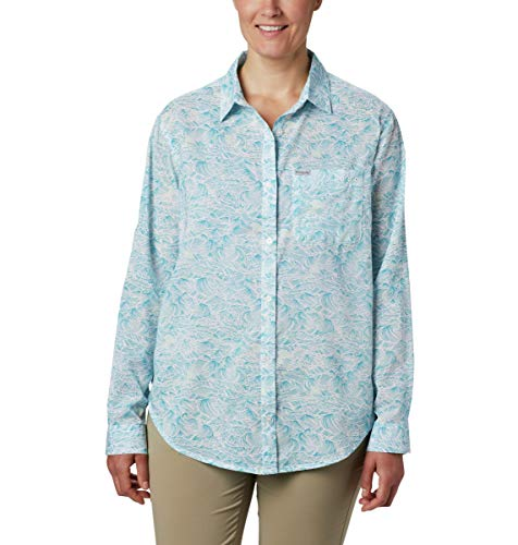 Columbia Sun Drifter II Langarmshirt für Damen, Damen, Sun Drifter Ii Long Sleeve Shirt, Transparenter Wasserboje mit Wellenmuster, Medium