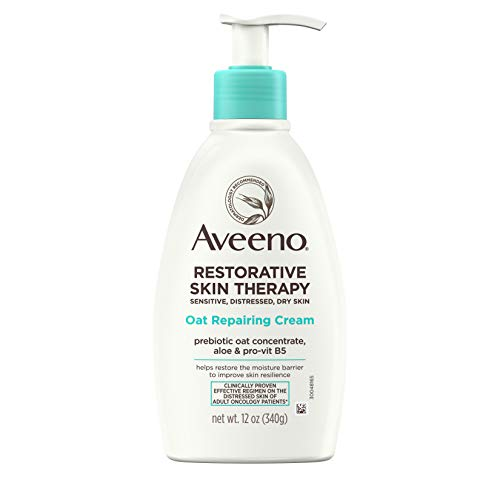 Aveeno Restorative Skin Therapy Moisturizing Oat Repairing Cream for Sensitive, Distressed, Dry Skin, with Prebiotic Oat & Aloe, Formulated without Parabens, Fragrance & Steroids, 12 oz