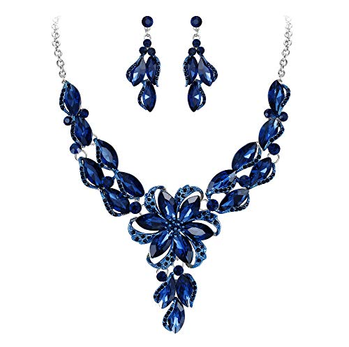 Clearine Fashion Crystal Peach Flower Statement Necklace Dangle Earrings Costume Jewellery Set for Women Navy Blue Sapphire Colour Silver-Tone
